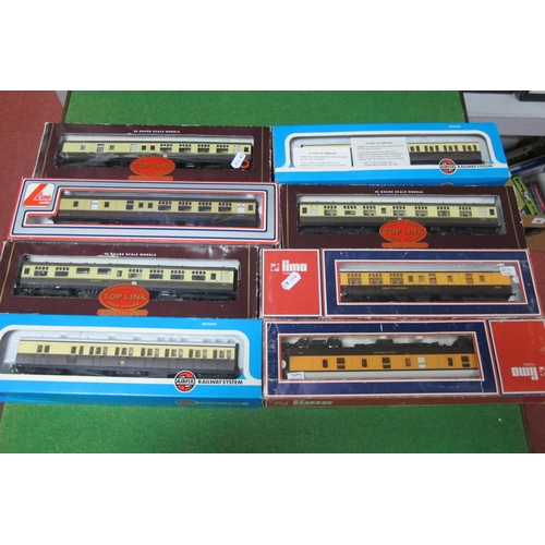 37 - Eight 'OO' Gauge GWR Coaches, by Lima, Hornby, Airfix, various styles, playworn, boxed.