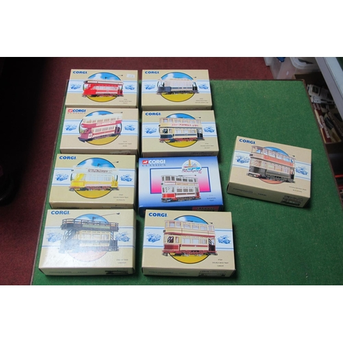 51 - Nine Corgi classic Trams, all boxed, all different.