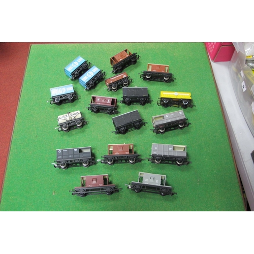 55 - Over Fifteen 'OO' Scale Four Wheel Railway Wagons, by Hornby and others, all playworn.