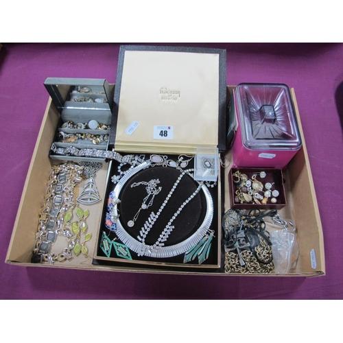 48 - Costume Jewellery, including diamanté, necklaces, earrings, bracelets etc.