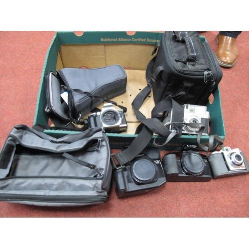 702 - Minolta Dynax 4 Camera Bag, two camera carrying bags, Koroll II camera, Olympus filters, Kodak Banta...
