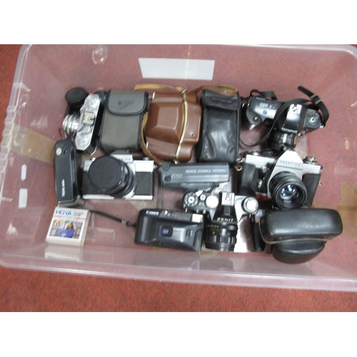 704 - Praktica MTL3 Camera and Lens, Zenit camera and lens, Halina 35X, Canon Junior, Kodak, Olympus, Prak...