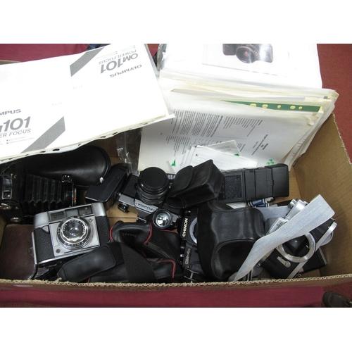 715 - Balda Bellows Camera and Case, Cobra flash, Pentax MZ- body, Praktica TLB camera, Chinon camera body...