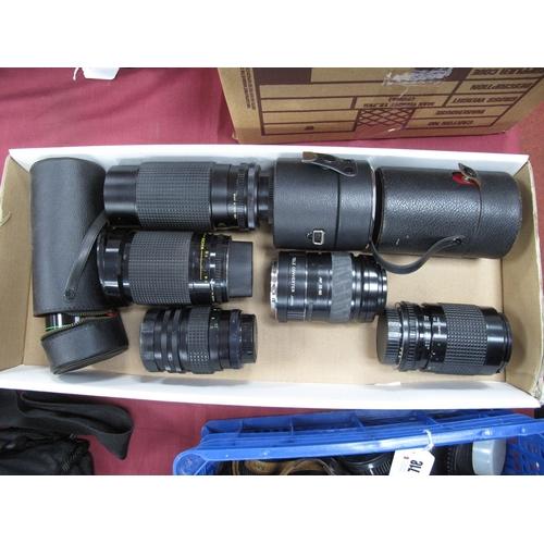 716 - Photax 1:28/135 Lens, cased, Pentacon 7-210 lens, Helios 44M-4 cased, Minolta tele converter, Tonkin...