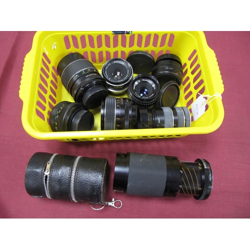 729 - Tamron of Tele-Macro 80-210mm Lens, Optomaz auto f=135mm lens, auto Chinon and Pentacon auto 1.8/50 ...