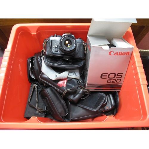 733 - Caonon EOS 620 Camera Boxed, Pentax Chinon, Canon Auto 2001, Canon MC10, Nikon RFZ, Agfa, Canon 105,...