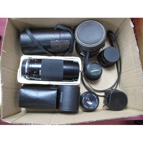 734 - Photax Paragon F=200mm Lens, Miranda 75 - 300mm lens, Helios 44mm 2/58 lens, Pentax 35-80 kens, Prin...