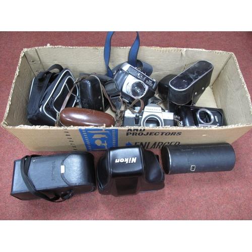 735 - Zemnit E Camera Body, Helina, Canon Sure Shot, Nikon case, Praktica body, Tamron lens case, etc.