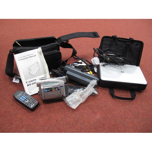 750 - Proling Portable DVD/Video Battery, Battery Charger, Mains Charger, all in carry bag, plus Canon MV ...
