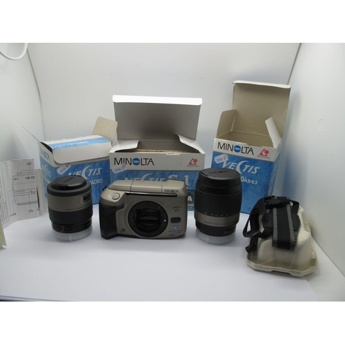 757 - Minolta Vectis S1 Camera, camera strap and instructions, plus Minolta 25-150 lens and one other Mino...