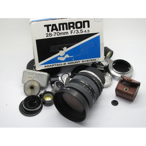 796 - Tamron 28-70mm Zoom Lens, boxed, Canon 3.5mm View Finder, Canon Lens Cover, Nippon View Finder in le...