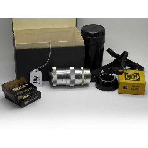 801 - Jupiter 11 Lens 135mm, in lens container, Olympus Focusing Screen 1-8, Olympus Focusing Screen 1-10 ...