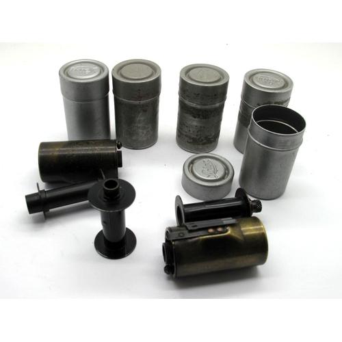 818 - Leitz Leica Brass Film Spools, five in aluminium cases, ten in total.