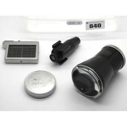 840 - Leica Light Meter, Leica (Weitz Wetzle) 5 x Magnifier, Leica Lens Cap, Leitz Viewfinder. (4)