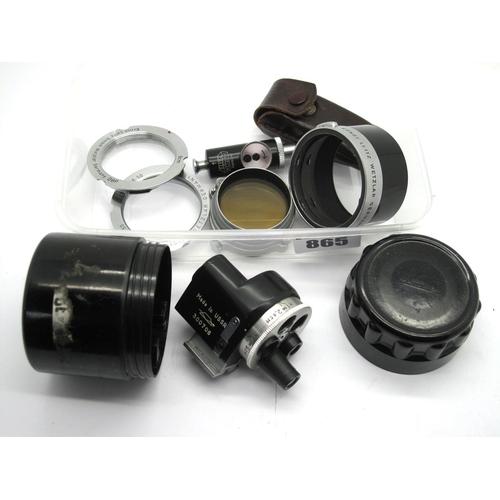 865 - Russian Multi Lens Viewfinder, in original Bakelite box, Leitz Timer, in original leather case, Leit...