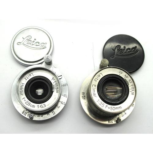 866 - Leitz Hektor f=2,8cm 1:6,3 Lens with Leica Cap, Leitz Elmar 1:3,5cm f=5mm Lens with Leica Cap. (2)