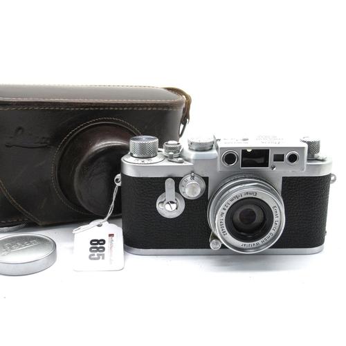 885 - Leica No 969668 Camera, chrome body with black crackle finish - Leitz f=5cm 1:2.8 No 1450482 lens, i...