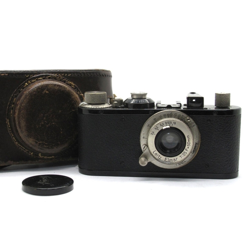 888 - Leitz Camera No 150961, with viewfinder fitted with Elmar 1:3.5 f=50cm lens, in brown leather case.
