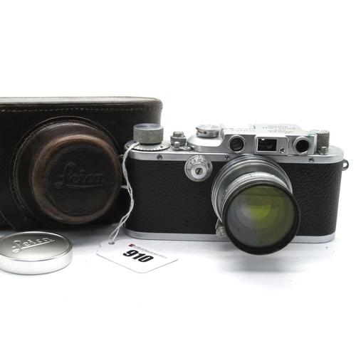 910 - Leica IIIb 289610 1938 Camera, with Summitar f=5cm 1:2 No 621532 lens and lens filter.