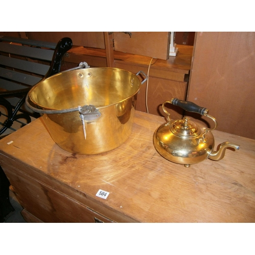 Brass Jam Pan and Kettle