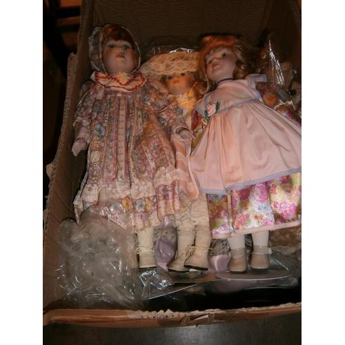 Box with Modern Porcelain Head Dolls etc