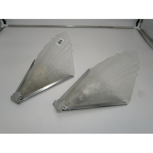 Pair of Art Deco Style Frosted Glass and Metal Wall Lights, 32cm high