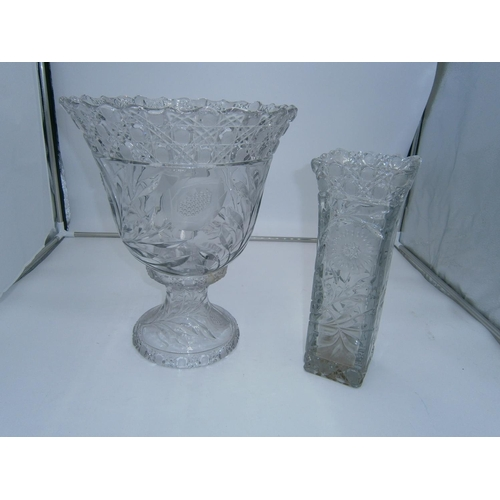 Large Cut Glass 2 Piece Pedestal Bowl and Similar Vase, 36 and 31cm