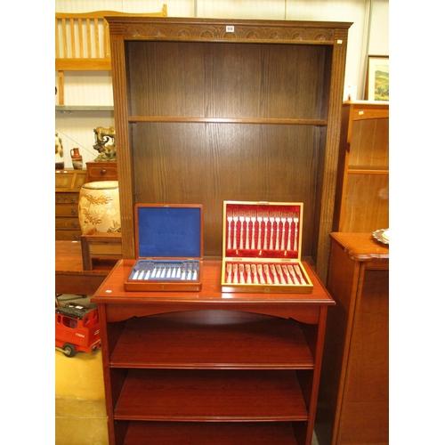 Tall Oak Bookshelves, W97cm, H195cm, D26cm, along with a Small Bookcase