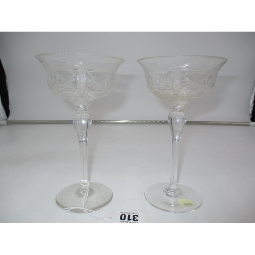 Set of 6 Walsh Crystal Champagne Coupes