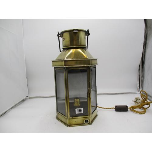 Bulpitt & Sons Birmingham 1912 Brass Lantern, fitted electric, 40cm high