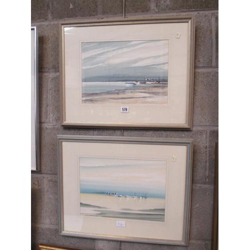 L.H. Lambier, Pair of Watercolours, Pont L'Abbe, 24x34cm
