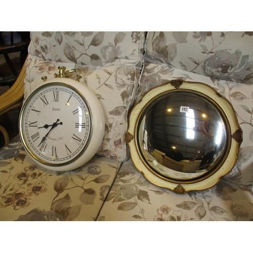 Circular Mirror and Decorative Clock
