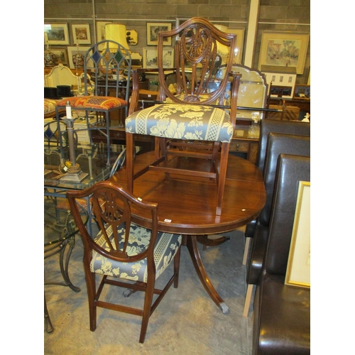 Reproduction Mahogany Extending Dining Table with 4 Chairs