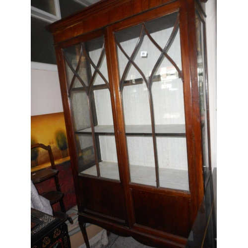 An Edwardian Mahogany Display Cabinet Fitted Two Glass Doors On