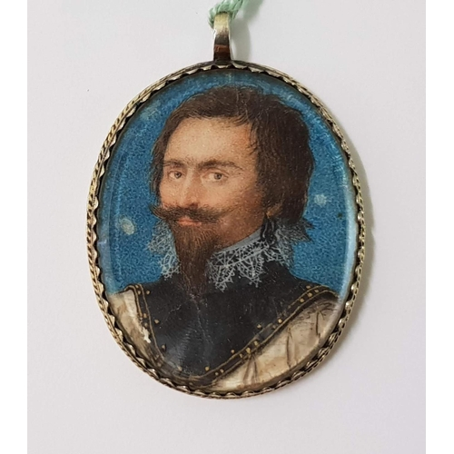11 - An antique painted miniature - Head and shoulders of a bearded gentleman in 16th Century dress, in a...