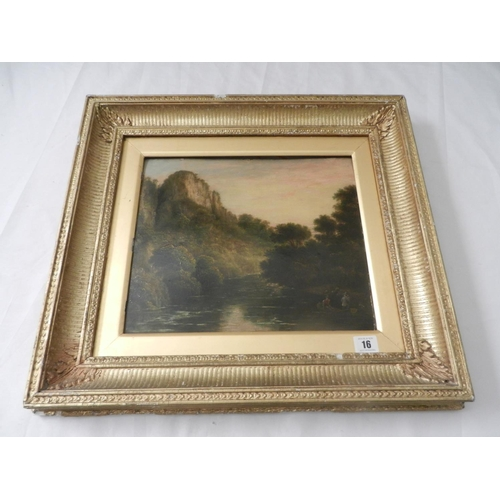 16 - A Victorian oil on panel - River scene with two figures in a punt, rocky outcrop and trees, under an...