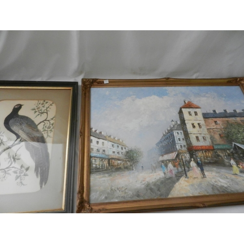3 - A selection of paintings and prints including an oil - French street scene, a feather picture of a b...
