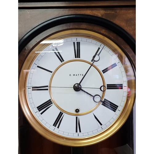 31 - A Vienna regulator by Lenzkirch, retailed by E Watts, circular white enamel dial, second hand, in a ...