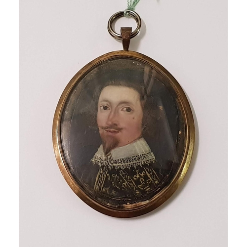 7 - An antique painted miniature - Head and shoulders portrait of a gentleman in Elizabethan style dress...