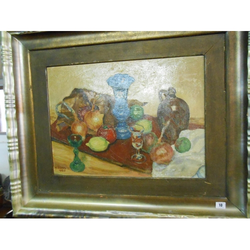 10 - W. Born 1920.  A signed oil on board - Still life of fruit, blue vase and stoneware jug, in a silver...