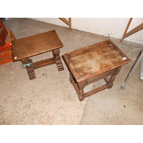 55 - A small oak table with rectangular top, on carved bulbous legs united by straight stretchers - 20in....