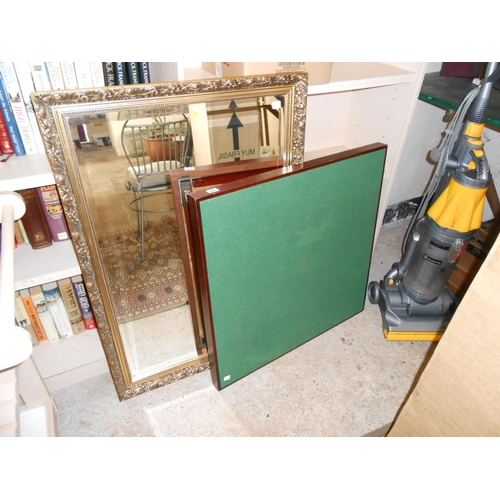 39 - A folding card table with green baize top and a rectangular bevelled wall mirror in a gilt frame - 3...