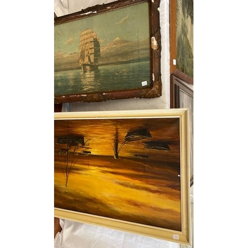 15 - Oils on canvas - River scene with trees, gilt framed, L Cailsey.  Oils on canvas - Figures in an int...
