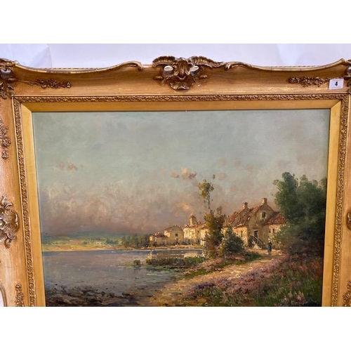 4 - A 19th Century oil on canvas - Landscape scene with buildings and figure, gilt framed - 22in. x 28in...