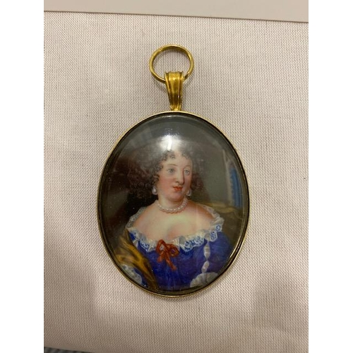 10 - A 19th Century miniature on ivory - Half length portrait of a lady in 18th Century blue dress with w...