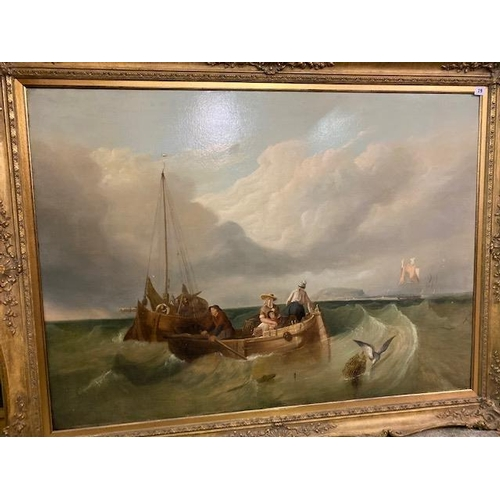 29 - A large oil on canvas - Seascape with figures in a rowing boat, fishing boat and seagull on a lobste...