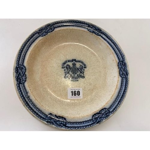 160 - A 19th Century ironstone soup plate from the S S Great Britain, transfer printed in blue with Royal ...