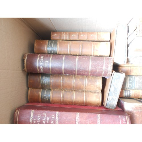19 - A selection of leather bound books including The Living Animals Of The World, Harpers Magazine, Holy...