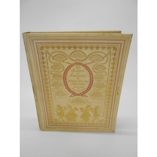 17 - Richard Brinsley Sheriden.  A gilt tooled velum bound copy of The School For Scandal, illustrated by...
