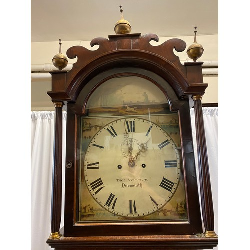 23 - An 18th Century longcase clock by Thomas Symmons of Dartmouth, painted hunter and dog to the arch, w...